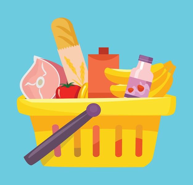 Cesta de la compra con alimentos. ilustración vectorial plana