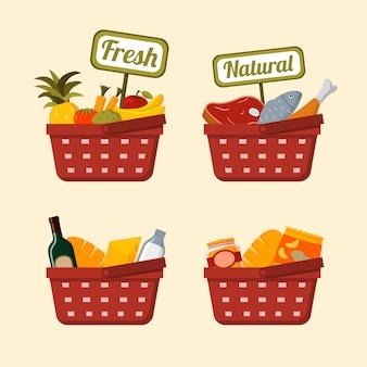 Cesta de la compra con alimentos