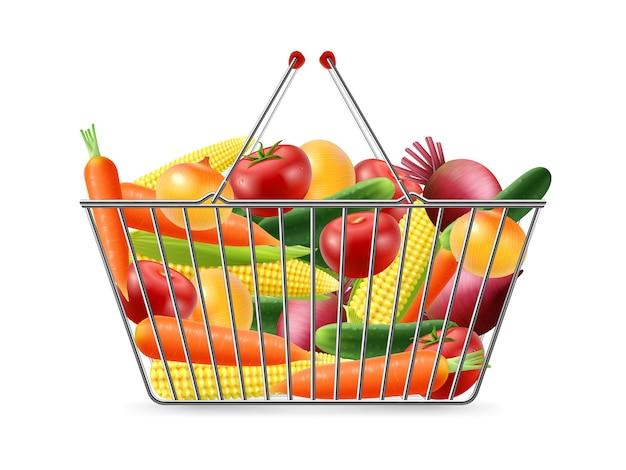 Cesta de compra completa vegreables imagen realista