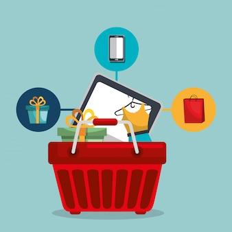 Cesta de la compra con iconos conjunto de marketing