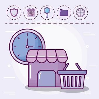 Cesta de la compra con iconos conjunto