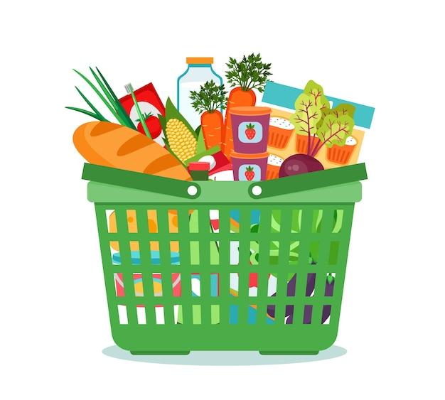 Cesta de la compra con ilustración de vector de comida. carro con compra de producto en supermercado. ilustración vectorial