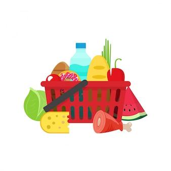 Cesta de la compra llena de productos comestibles vector plano de dibujos animados