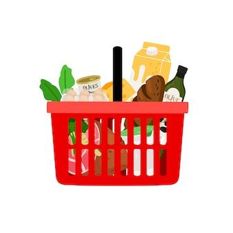 Cesta de la compra con productos aislados sobre fondo blanco.