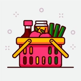 Cesta de la compra rosa llena de comestibles