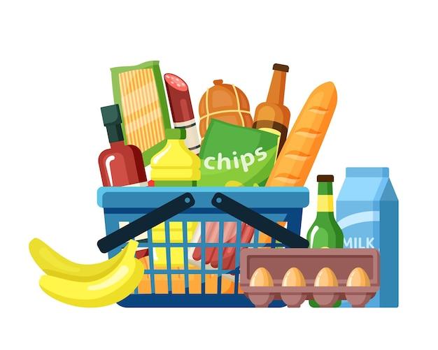 Cesta de la compra con surtido de alimentos plano. productos de supermercado en canasta de compras. comida americana. ingredientes de la comida. canasta llena de productos gastronómicos cotidianos