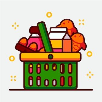 Cesta de la compra verde llena de comestibles