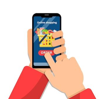 Cesta de compras en línea. manos sosteniendo el teléfono inteligente y hacer el concepto de vector de mercado de alimentos de comercio de aplicaciones de orden