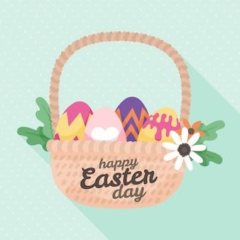 Cesta de feliz día de pascua dibujada a mano con huevos
