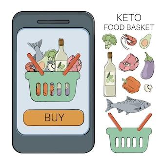 Cesta de keto comida saludable baja en carbohidratos