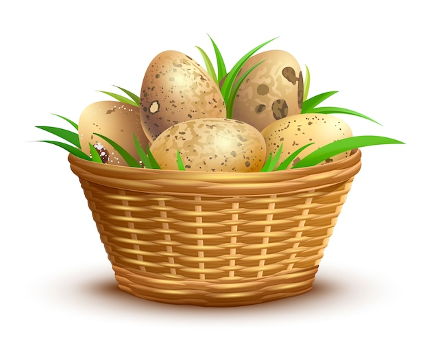 Cesta de mimbre llena de huevos de codorniz