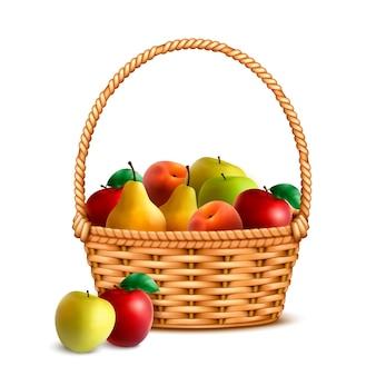 Cesta de mimbre de sauce con una manija llena con ilustración de imagen realista de primer plano de frutas frescas maduras del mercado