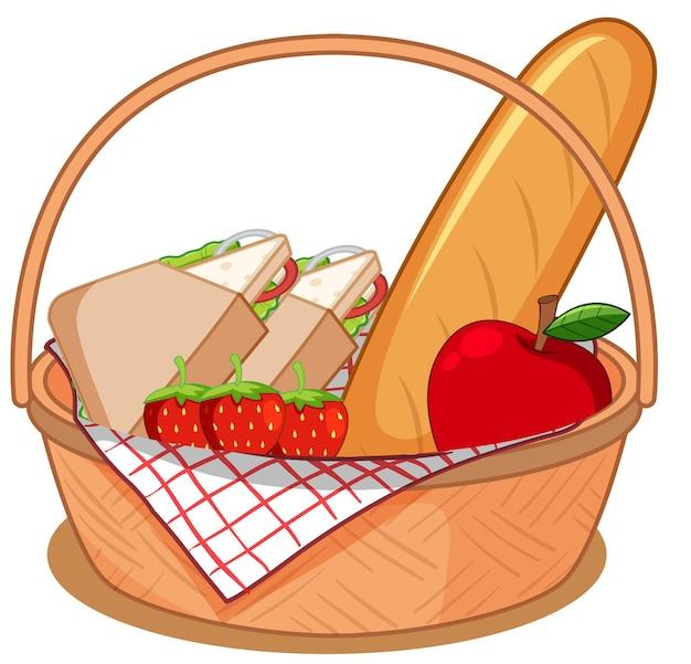 Cesta con muchos alimentos para picnic aislado