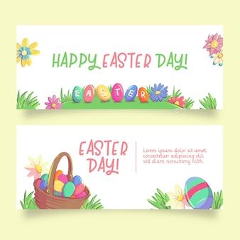 Cesta con pancartas de pascua de huevos