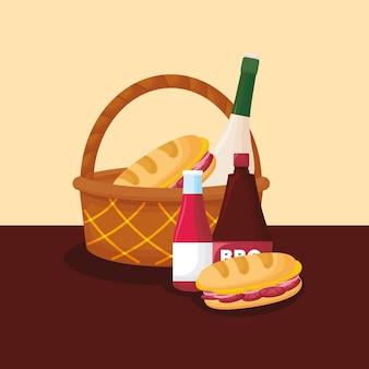 Cesta de picnic con botellas de vino y comida