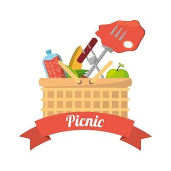 Cesta de picnic comida tenedor parrilla