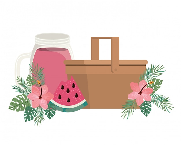 Cesta de picnic con refrescante bebida para el verano.