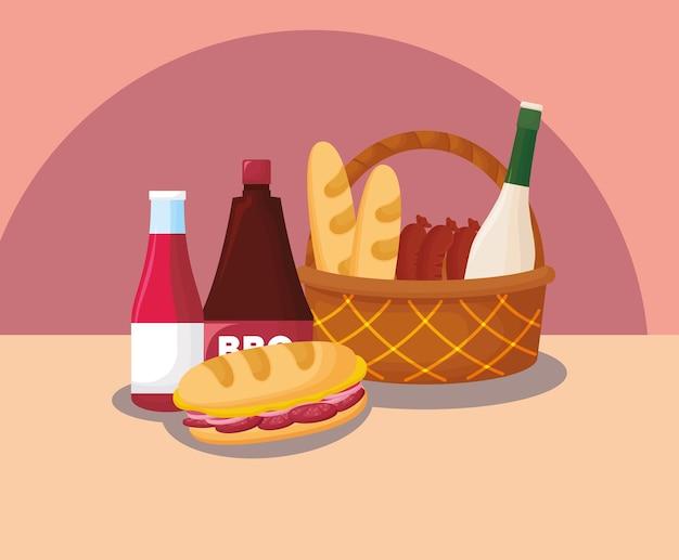 Cesta de picnic con sándwich y comida