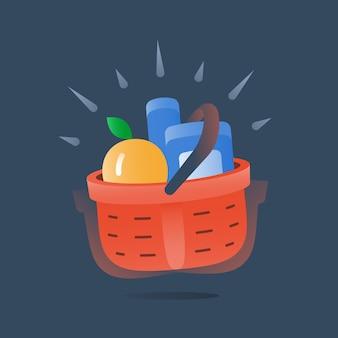 Cesta roja completa de productos, servicio de entrega rápida de la tienda de comestibles