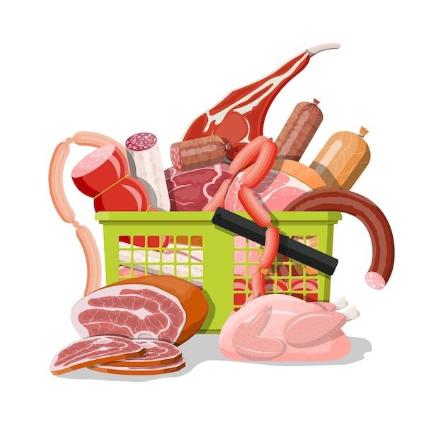 Cesta de supermercado de compras llena de carne