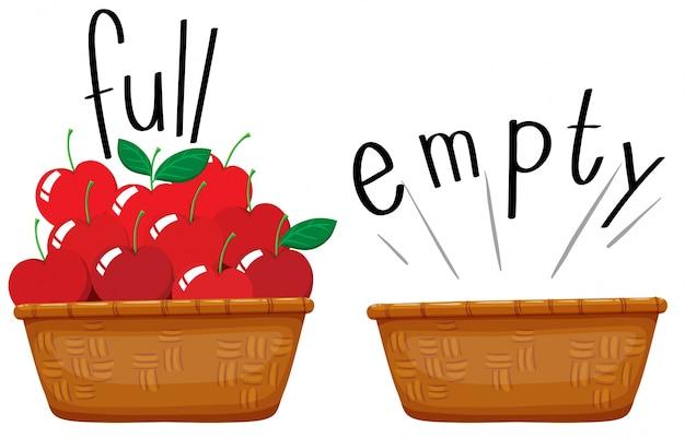 Cesta vacía y cesta llena de manzanas