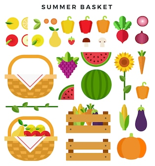 Cesta de verano con frutas y verduras frescas.