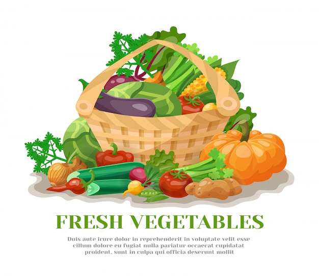 Cesta de verduras naturaleza muerta