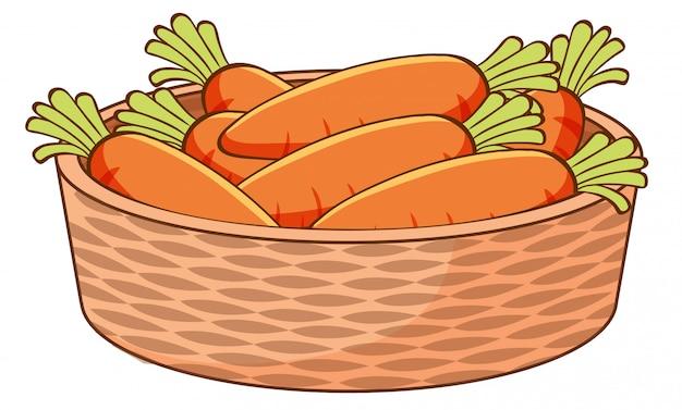 Cesta de zanahorias sobre fondo blanco.