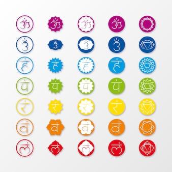 Chakras en la colección de puntos coloridos