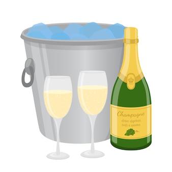 Champagne de dibujos animados en el cubo de hielo