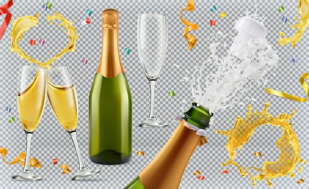 Champán. vasos, botella, salpicaduras. conjunto realista 3d