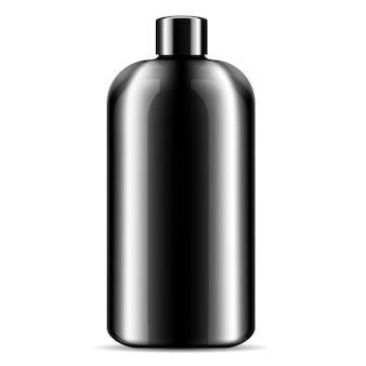 Champú ducha gel negro cosméticos botella maqueta.