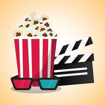 Chapaleta de palomitas de maíz de cine y gafas 3d