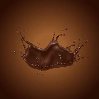 Chapoteo del chocolate 3d aislado en fondo marrón