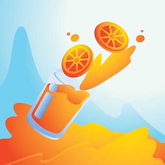 Chapoteo del verano con el fondo del zumo de naranja