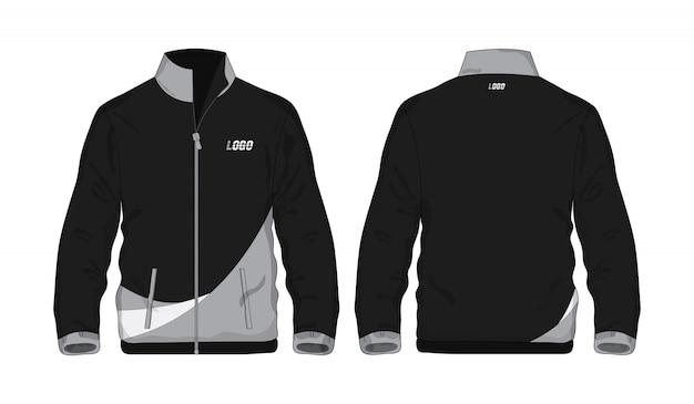 Chaqueta deportiva camisa gris y negra de plantilla para diseño sobre fondo blanco. ilustración vectorial eps 10.
