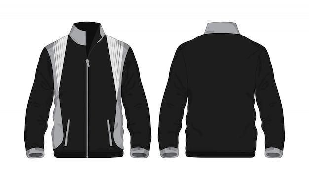 Chaqueta deportiva camisa gris y negra de plantilla para diseño sobre fondo blanco.