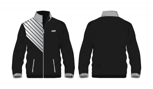 Chaqueta deportiva gris y negro plantilla para diseño sobre fondo blanco.