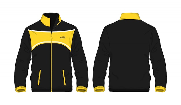 Chaqueta deportiva plantilla amarilla y negra para el diseño.