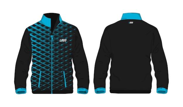 Chaqueta deportiva plantilla azul y negra para el diseño sobre fondo blanco. ilustración vectorial eps 10.
