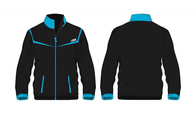 Chaqueta deportiva plantilla azul y negra para el diseño sobre fondo blanco.