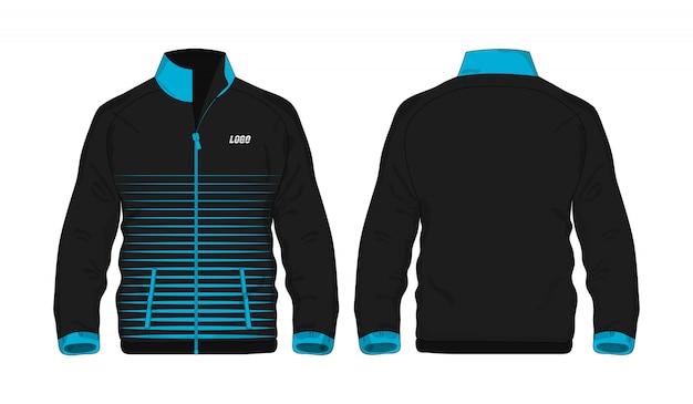 Chaqueta deportiva plantilla azul y negro para el diseño sobre fondo blanco.