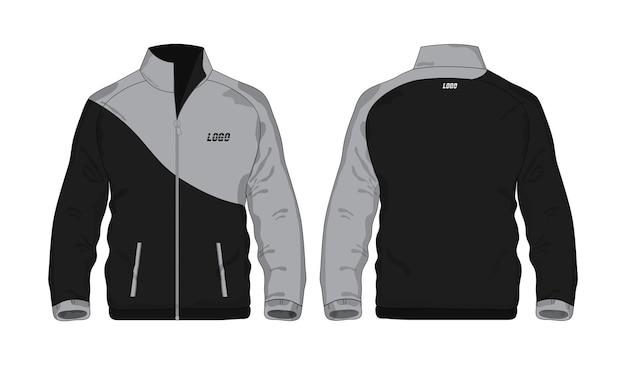 Chaqueta deportiva plantilla gris y negra para diseño sobre fondo blanco. ilustración vectorial eps 10.