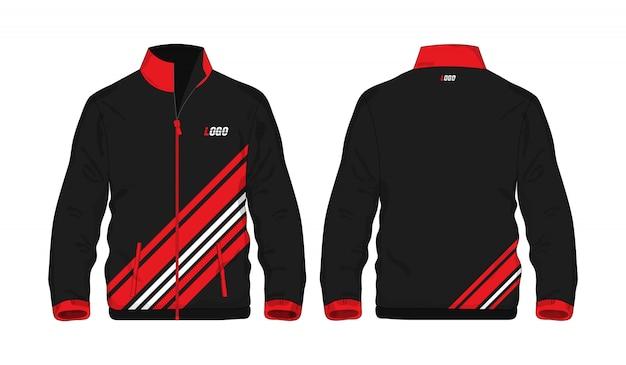 Chaqueta deportiva plantilla roja y negra para el diseño sobre fondo blanco. ilustración vectorial eps 10.