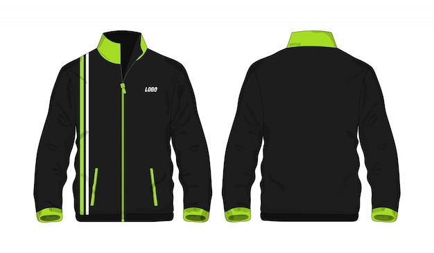Chaqueta deportiva plantilla verde y negro para el diseño sobre fondo blanco.