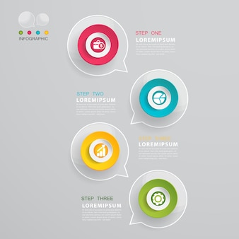 Charla burbuja diseño infográfico moderno.
