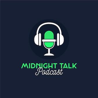 Charla de medianoche del logotipo detallado del podcast