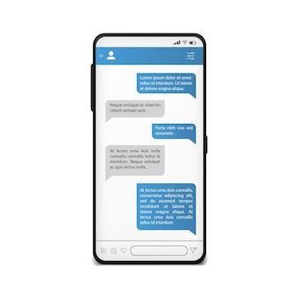 Charla en la pantalla del teléfono. plantilla de mensajería móvil. maqueta de red social