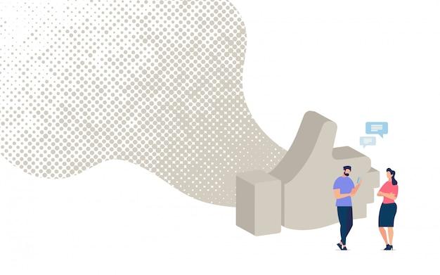 Charlando con un amigo en el banner de la red social