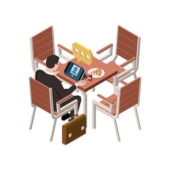 Charlando gente composición isométrica con carácter de hombre de negocios en la mesa de café con una computadora portátil que realiza una llamada de voz